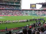 Jono and Jonah lined up with their teams before the start of Martin Johnson's testimonial game