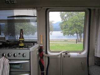 parked up on Lake Te Anau waterfront